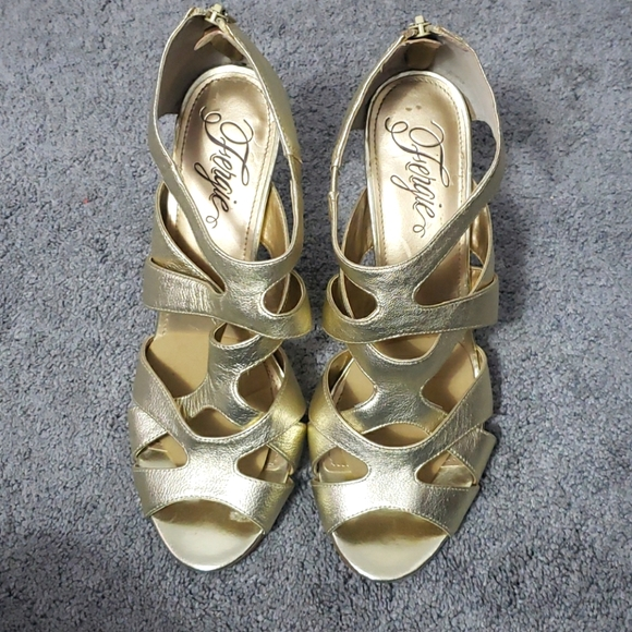 Fergie Gold Strappy Shoes